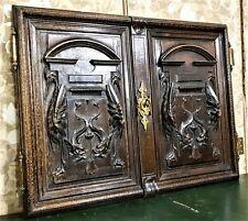 Pair bird sea monster panel cabinet door Antique french salvaged furniture