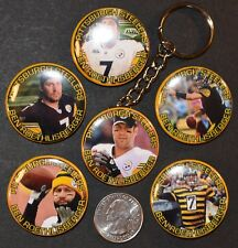 """Set of 6 -  5 Pinback Buttons and Key Chain 1 1/2"""" Ben Roethlisberger Steelers"""