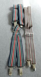 2 pair stripy braces. Heavy, wide elastic and one narrow, lighter weight.
