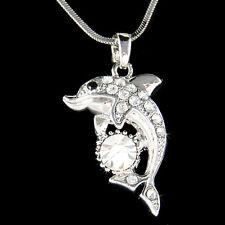~DOLPHIN~ made with Swarovski Crystal Bridal Beach marine Miami Wedding Necklace