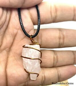 Rose Quartz Crystal Raw Pendant Copper wire wrap stone Necklace Love Healing AAA
