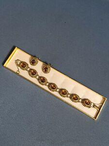 GOLDETTE VINTAGE GOLD TONE DBL CHAIN SLIDE CHARM FOLD CLASP RHINESTONE BRACELET