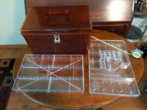 VTG WIL-HOLD Wilson Mfg Plastic Amber Orange Sewing Box - 2 Trays USA
