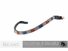 Red White Blue, USA Flag Luminocity Browband | Brown Leather | Full/Warmblood 17