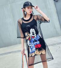 Sequin Mickey Mouse Women Two Piece Set Summer Dress Mesh See Through T Shirt