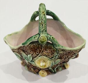 Antique Victorian Majolica Birds Nest Basket - 1880's