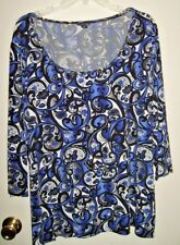 East 5th Womens Plus Size 3X Purple and Black Paisley Floral Blouse Top