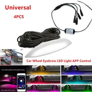 4Pcs Car Fender Wheel Eyebrow LED Colorful Music App Control Ambient light 360°
