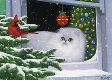 White persian cat cardinal bird Christmas tree window limited edition aceo print