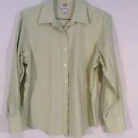 Talbots Women's Mint Green Sz 12 Long Sleeve Button Up Shirt Blouse Career Top