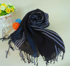 Mens Womens Warm Mixed Color Striped Scarves Tassel Fringe Long Scarf Shawl M74