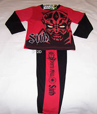 Star Wars Darth Maul Sith Boys Red Black Printed Pyjama Set Size 7 New