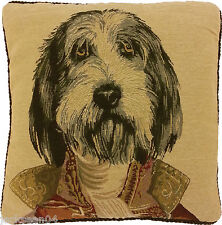 "FILLED SUPERB BLACK GOLD OFFICER MILITARY DOG TAPESTRY VELVET 18"" CUSHION AS"