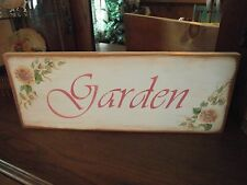 GARDEN SIGN  Hand Painted Shabby Roses  Cottage Chic Primitive Wood Sign