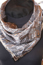 ELAINE GOLD FOR COLLECTION XIIX-BLACK & COPPER PAISLEY-100%SILK GREAT CONDITION