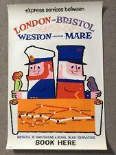 Daphne Padden transport travel bus coach poster original 1960's