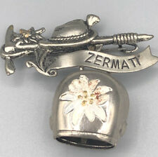 Vintage Swiss Bell Pin Brooch-Rings! Zermatt #97
