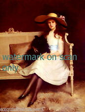 1912 Black Pomeranian Puppy Dog~Pretty Woman with Hat~NEW Large Note Cards