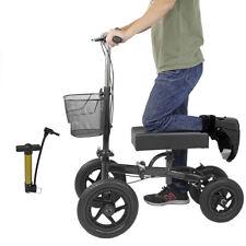 Clevr Quad Wheel All Terrain Foldable Medical Knee Walker Scooter Roller, Black