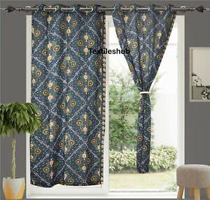 Indian Valance Curtain Navy Blue Door Curtain Kitchen Window Curtain 2 Panels UK