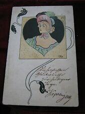 Color KAROLY JOSZA Art Nouveau Lady to OLMUTZ, MORAVIA, Austria Hungary 1900 #37