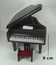piano à queue en bois laqué noir,miniature maison de poupée, instrument musique