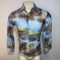 Vtg 60s 70s Disco Shirt POLYESTER Trafalgar Maps ALL OVER PRINT Blue Mens SMALL