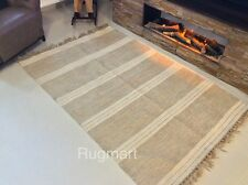Eco Friendly Natural Cotton Jute Mix Striped Cream Beige Washable Rugs Dhurries