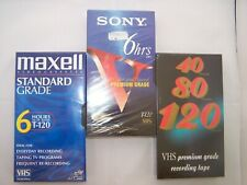 3Pack SONY Premium VHS 6 Hour T-120 ,Maxell Standard and 40/80/120 min Premium