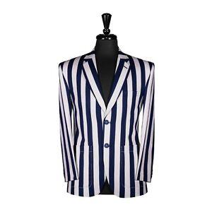 Men's Striped Blazer Blue Designer Evening Jacket Sport Coat Wedding Party 38R