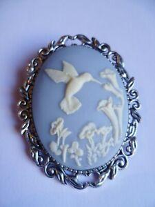 Stunning Pale Blue & Cream Hummingbird Cameo Brooch Wedding Pin Pagan