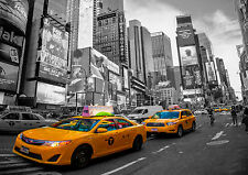 NEW York Yellow Taxi Cab, Times Square stampa, foto POSTER WALL ART 280gsm