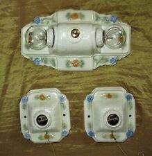 Set of 3 Vintage Ceiling Fixtures Chandelier 1930 porcelain fixture by Porcelier