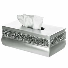 Elegant Mosaic Glass Resin Box Tissue Holder Cover Modern Home Decor, Silver New
