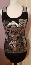INTERNACIONALE Black Top With Silver Sequins & Silver Eagle Print NEW Size 10
