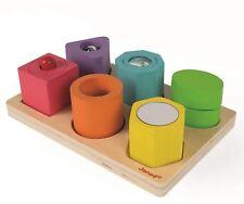 Janod I WOOD SHAPES & SOUNDS 6-BLOCK PUZZLE Wooden Toys Games Preschool BN