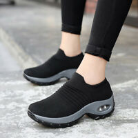 Women Air Cushion Sneakers Mesh Walking Slip-On Running Shoes Breathable