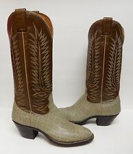 NOCONA Leather Boots Cowboy Western Elephant Look Print Brown Gray VTG NEW 8 D