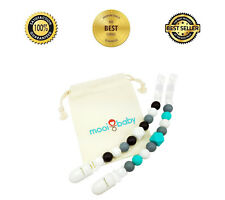 Pacifier Clip - 2 Pack Set - Teething Baby Silicone Beads with Unique Shapes
