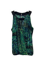 M&Co Vest Top Blouson Blouse Green Size 10 Tropical Print Sleeveless Mock Wrap