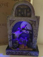 Jim Shore Halloween Haunted Eve Lighted Graveyard Black Cat Tombstone Ghost MIB