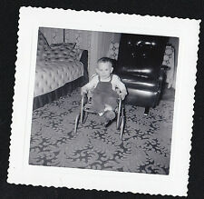 Old Antique Vintage Photograph Little Boy Sitting in Chair in Retro Living Room