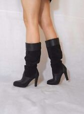 Women Brown Knee Boots Turn Over Pull On Real Leather /Suede Next Size 5