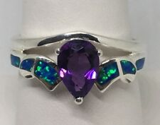 NOS Sterling Silver 925 Ring Size 9 w/ Lab Created Opals and Amethyst Cut Stone
