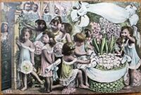 Multiple Baby 1910 Postcard: Babies, Young Girls & Flowers, Giant Basket