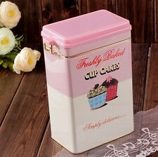 Retro Large Pink Cupcake Kitchen Coffee Tea Sealed Container Jar Tin Metal