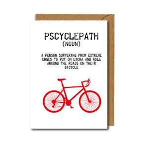 PSCYCLEPATH funny cyclist BIKES bicycles BIRTHDAY CARD Cycling WHEELY
