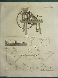 1797 GEORGIAN PRINT ~ MALT BRUISER ~ MECHANICS VARIOUS DIAGRAMS DRAWINGS