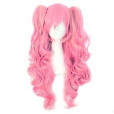 peluca larga sintetica rosa 65 cm Long Pink Anime Lolita Wavy Cosplay Wig
