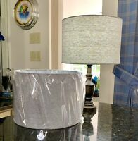 """Pair of Uno Drum Barrel Dove Gray Fabric Table Lamp Shades 8"""" high 11"""" wide."""